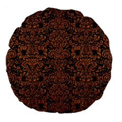 Damask2 Black Marble & Rusted Metal (r) Large 18  Premium Flano Round Cushions by trendistuff