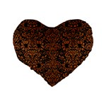 DAMASK2 BLACK MARBLE & RUSTED METAL (R) Standard 16  Premium Flano Heart Shape Cushions Back