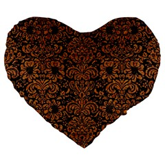 Damask2 Black Marble & Rusted Metal (r) Large 19  Premium Flano Heart Shape Cushions by trendistuff