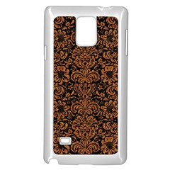Damask2 Black Marble & Rusted Metal (r) Samsung Galaxy Note 4 Case (white) by trendistuff