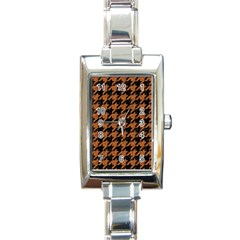 Houndstooth1 Black Marble & Rusted Metal Rectangle Italian Charm Watch by trendistuff