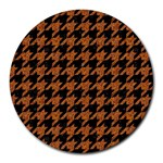 HOUNDSTOOTH1 BLACK MARBLE & RUSTED METAL Round Mousepads Front