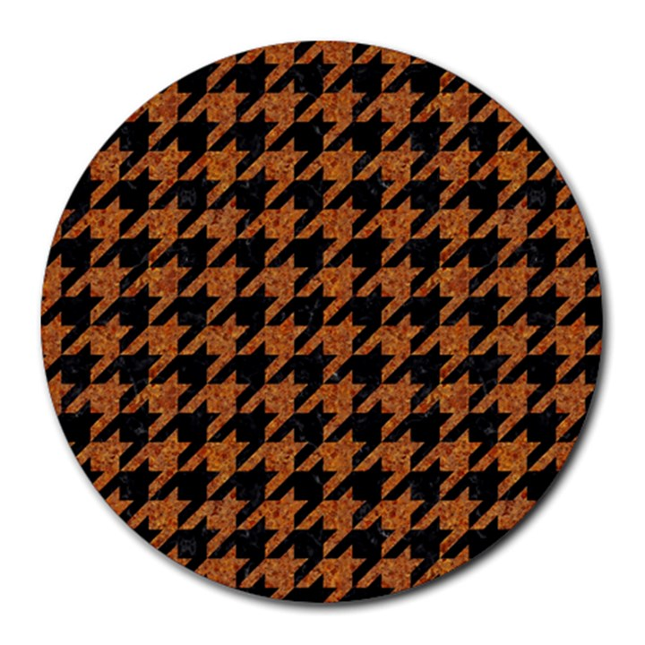 HOUNDSTOOTH1 BLACK MARBLE & RUSTED METAL Round Mousepads