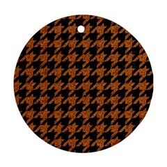 Houndstooth1 Black Marble & Rusted Metal Ornament (round) by trendistuff