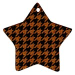 HOUNDSTOOTH1 BLACK MARBLE & RUSTED METAL Ornament (Star) Front