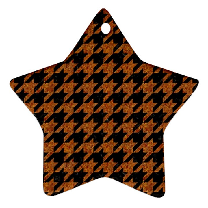HOUNDSTOOTH1 BLACK MARBLE & RUSTED METAL Ornament (Star)