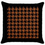 HOUNDSTOOTH1 BLACK MARBLE & RUSTED METAL Throw Pillow Case (Black) Front