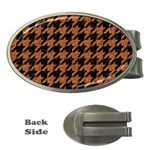 HOUNDSTOOTH1 BLACK MARBLE & RUSTED METAL Money Clips (Oval)  Front