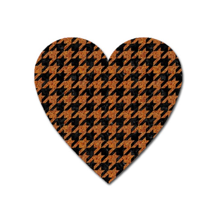 HOUNDSTOOTH1 BLACK MARBLE & RUSTED METAL Heart Magnet