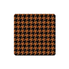 Houndstooth1 Black Marble & Rusted Metal Square Magnet by trendistuff