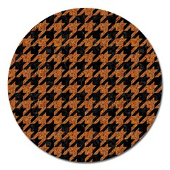 Houndstooth1 Black Marble & Rusted Metal Magnet 5  (round) by trendistuff