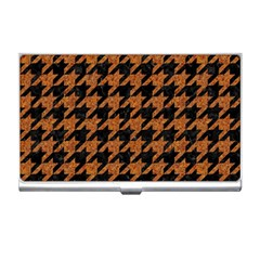 Houndstooth1 Black Marble & Rusted Metal Business Card Holders