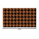 HOUNDSTOOTH1 BLACK MARBLE & RUSTED METAL Business Card Holders Front
