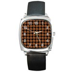 HOUNDSTOOTH1 BLACK MARBLE & RUSTED METAL Square Metal Watch Front