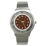 HOUNDSTOOTH1 BLACK MARBLE & RUSTED METAL Stainless Steel Watch Front