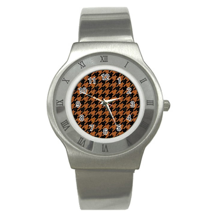 HOUNDSTOOTH1 BLACK MARBLE & RUSTED METAL Stainless Steel Watch