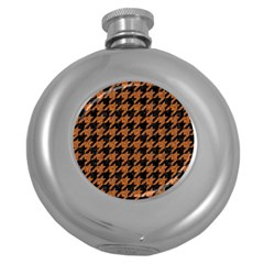 Houndstooth1 Black Marble & Rusted Metal Round Hip Flask (5 Oz) by trendistuff
