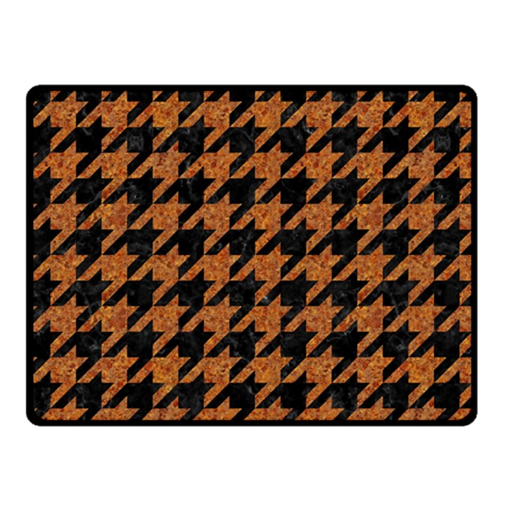 HOUNDSTOOTH1 BLACK MARBLE & RUSTED METAL Fleece Blanket (Small)