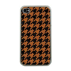 Houndstooth1 Black Marble & Rusted Metal Apple Iphone 4 Case (clear) by trendistuff