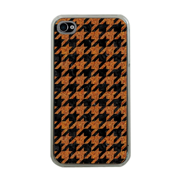 HOUNDSTOOTH1 BLACK MARBLE & RUSTED METAL Apple iPhone 4 Case (Clear)