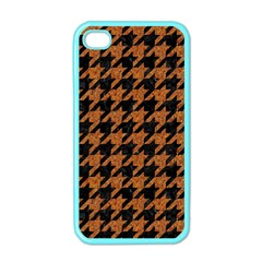 Houndstooth1 Black Marble & Rusted Metal Apple Iphone 4 Case (color) by trendistuff