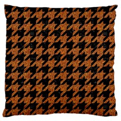 Houndstooth1 Black Marble & Rusted Metal Large Cushion Case (one Side) by trendistuff