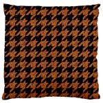 HOUNDSTOOTH1 BLACK MARBLE & RUSTED METAL Large Cushion Case (One Side) Front
