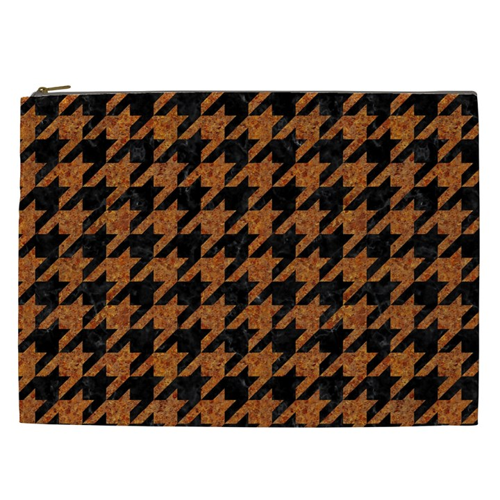 HOUNDSTOOTH1 BLACK MARBLE & RUSTED METAL Cosmetic Bag (XXL)