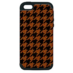 Houndstooth1 Black Marble & Rusted Metal Apple Iphone 5 Hardshell Case (pc+silicone) by trendistuff