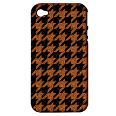 Houndstooth1 Black Marble & Rusted Metal Apple Iphone 4/4s Hardshell Case (pc+silicone) by trendistuff