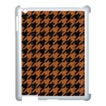 HOUNDSTOOTH1 BLACK MARBLE & RUSTED METAL Apple iPad 3/4 Case (White) Front