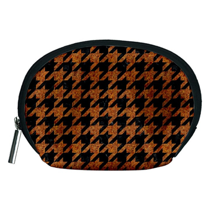 HOUNDSTOOTH1 BLACK MARBLE & RUSTED METAL Accessory Pouches (Medium)