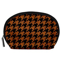 Houndstooth1 Black Marble & Rusted Metal Accessory Pouches (large)  by trendistuff