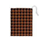 HOUNDSTOOTH1 BLACK MARBLE & RUSTED METAL Drawstring Pouches (Medium)  Front