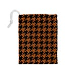 HOUNDSTOOTH1 BLACK MARBLE & RUSTED METAL Drawstring Pouches (Medium)  Back