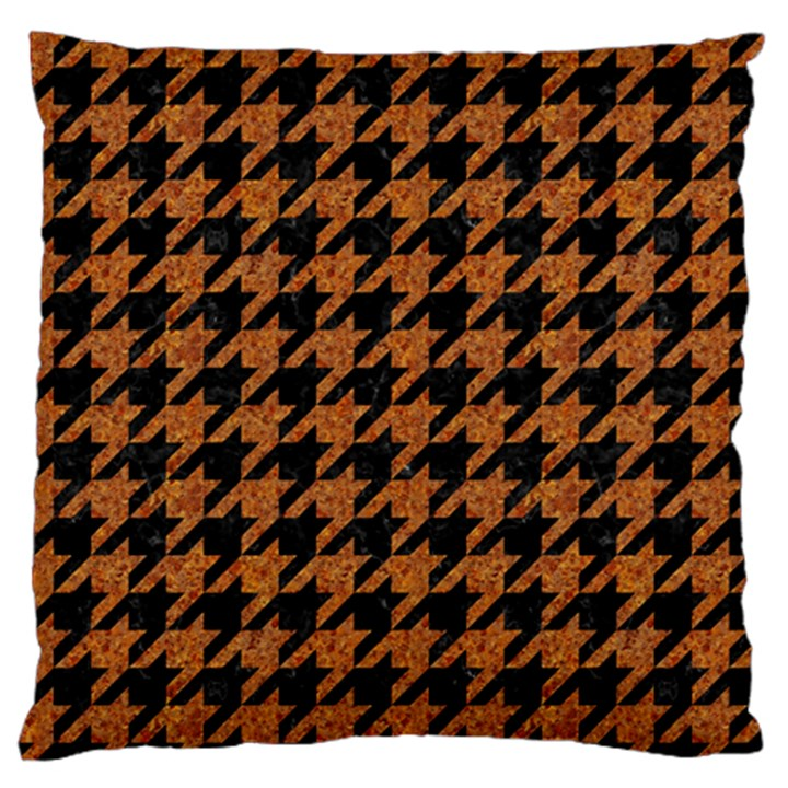HOUNDSTOOTH1 BLACK MARBLE & RUSTED METAL Large Flano Cushion Case (Two Sides)