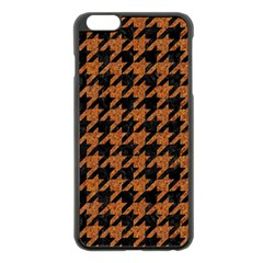 Houndstooth1 Black Marble & Rusted Metal Apple Iphone 6 Plus/6s Plus Black Enamel Case by trendistuff