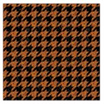 HOUNDSTOOTH1 BLACK MARBLE & RUSTED METAL Large Satin Scarf (Square) Front