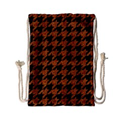 Houndstooth1 Black Marble & Rusted Metal Drawstring Bag (small) by trendistuff
