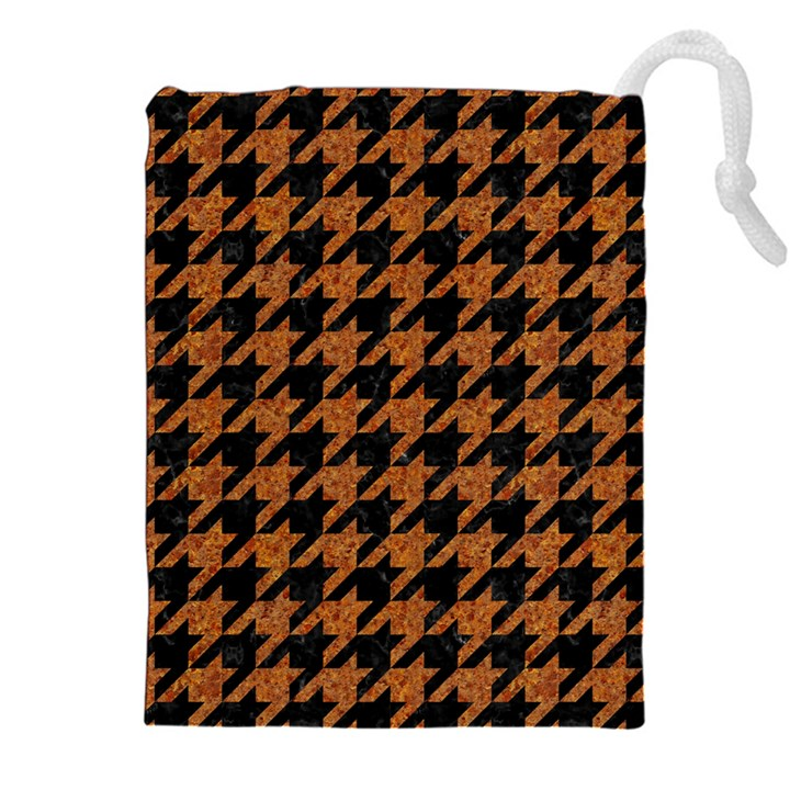 HOUNDSTOOTH1 BLACK MARBLE & RUSTED METAL Drawstring Pouches (XXL)