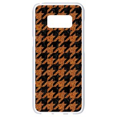 Houndstooth1 Black Marble & Rusted Metal Samsung Galaxy S8 White Seamless Case by trendistuff