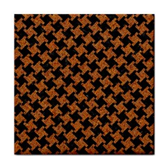 HOUNDSTOOTH2 BLACK MARBLE & RUSTED METAL Tile Coasters
