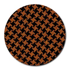 HOUNDSTOOTH2 BLACK MARBLE & RUSTED METAL Round Mousepads