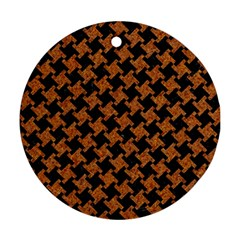 HOUNDSTOOTH2 BLACK MARBLE & RUSTED METAL Ornament (Round)