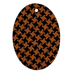 HOUNDSTOOTH2 BLACK MARBLE & RUSTED METAL Ornament (Oval)