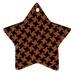 HOUNDSTOOTH2 BLACK MARBLE & RUSTED METAL Ornament (Star)
