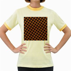 HOUNDSTOOTH2 BLACK MARBLE & RUSTED METAL Women s Fitted Ringer T-Shirts