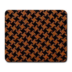 HOUNDSTOOTH2 BLACK MARBLE & RUSTED METAL Large Mousepads