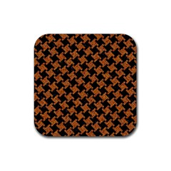 HOUNDSTOOTH2 BLACK MARBLE & RUSTED METAL Rubber Coaster (Square)