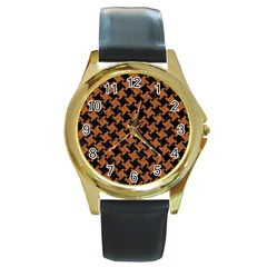 HOUNDSTOOTH2 BLACK MARBLE & RUSTED METAL Round Gold Metal Watch